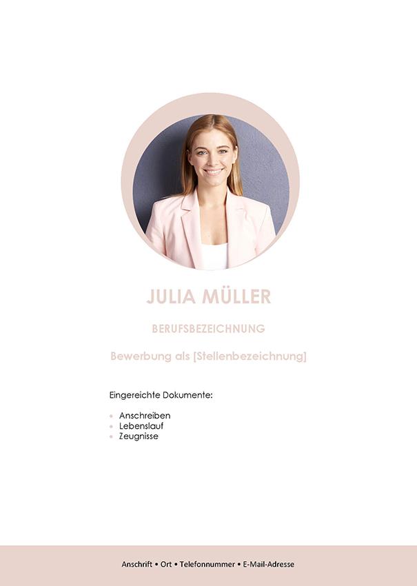 Deckblatt Bewerbungsvorlage Julia