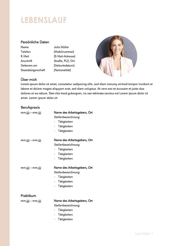 Lebenslauf Bewerbungsvorlage Julia Seite 1