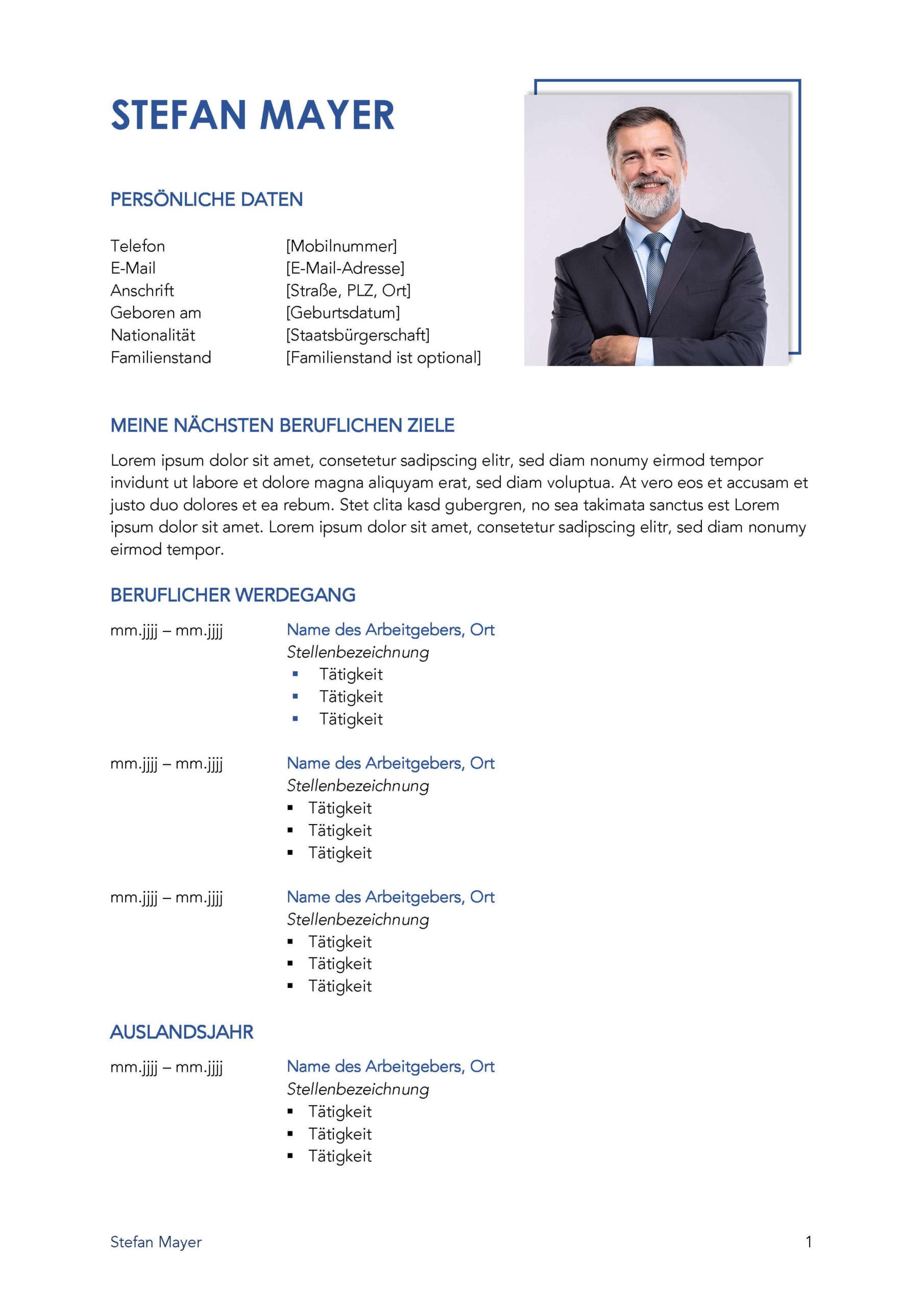 Lebenslauf Bewerbungsvorlage Stefan Seite 1
