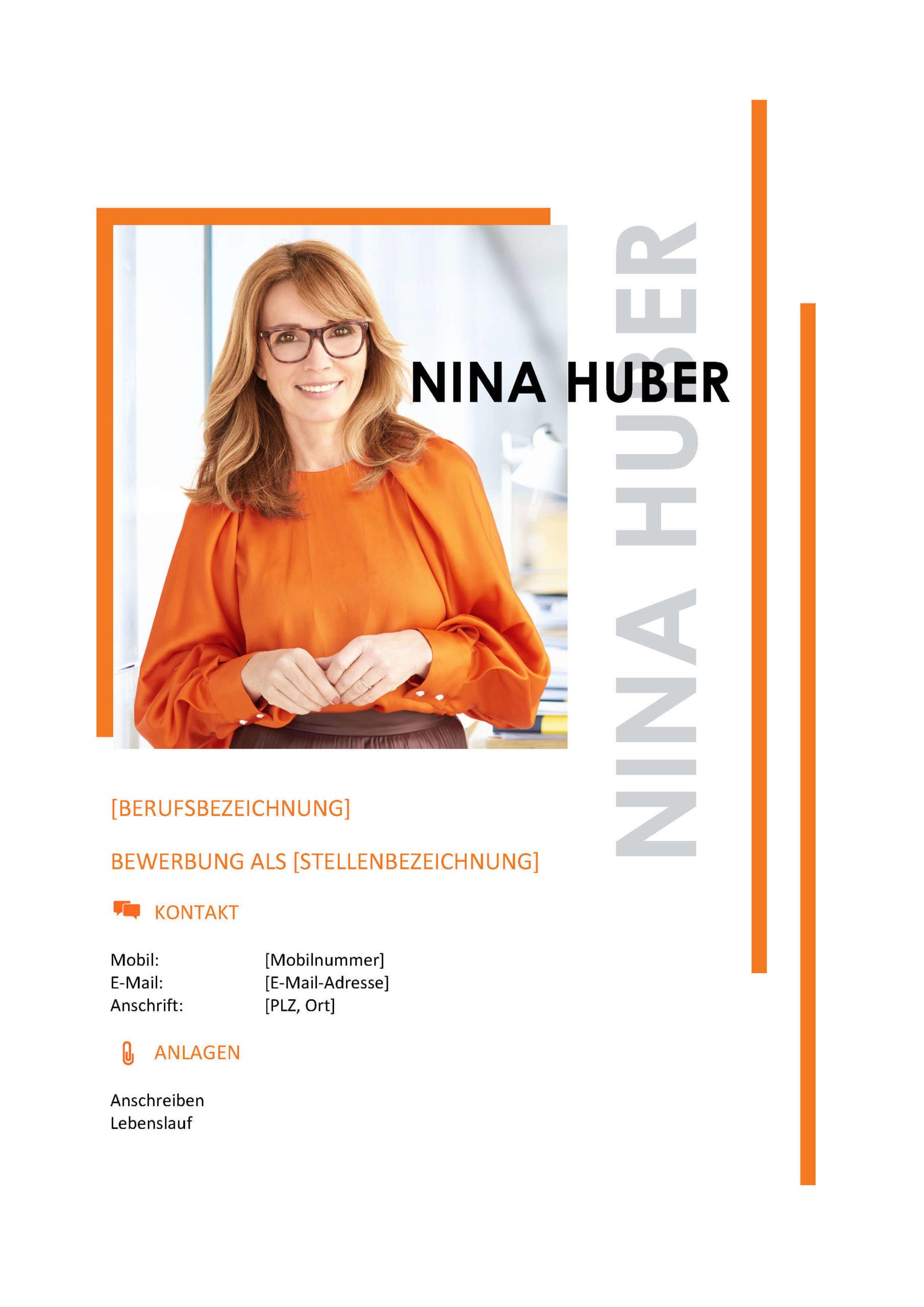 Deckblatt Bewerbungsvorlage Nina