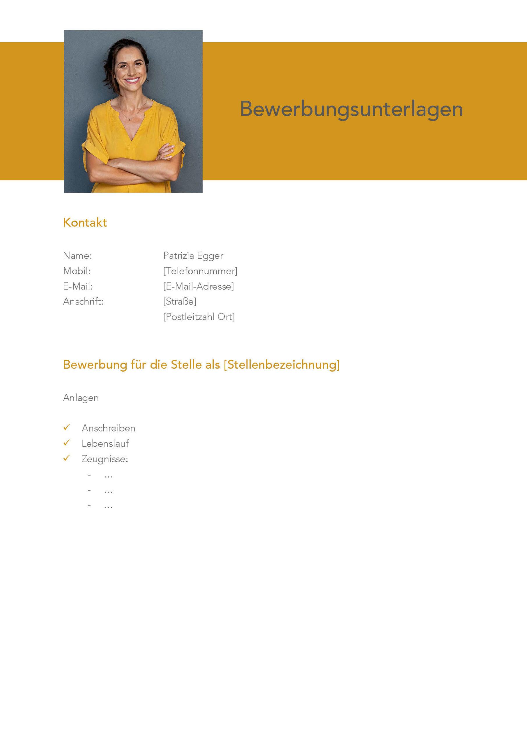 Deckblatt Bewerbungsvorlage Patricia