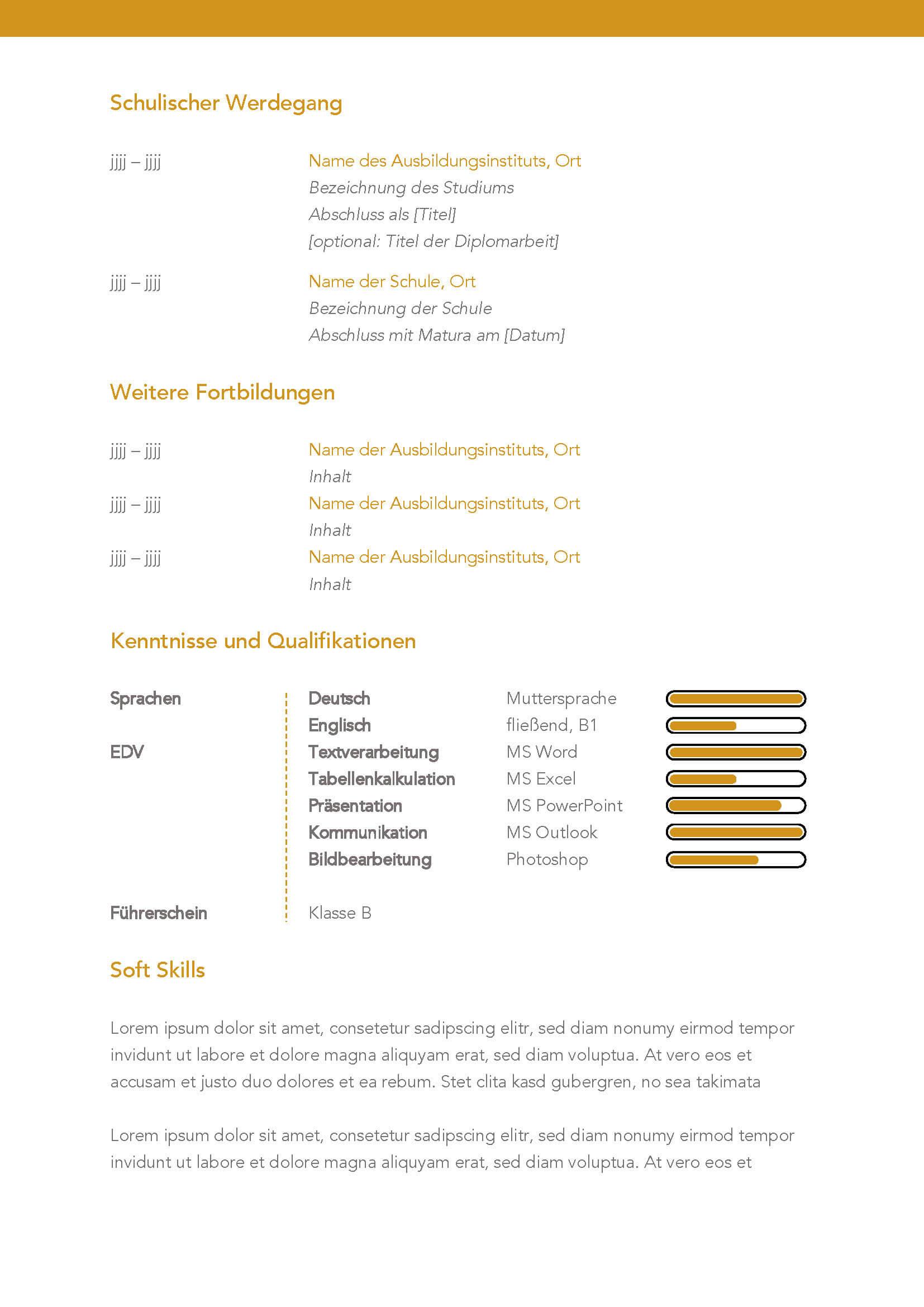 Lebenslauf Bewerbungsvorlage Patricia Seite 2