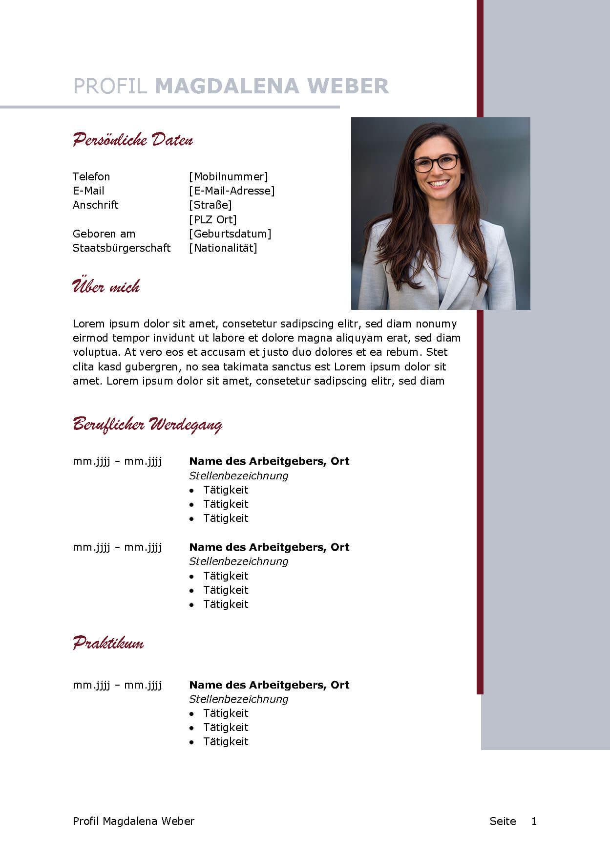 Lebenslauf Bewerbungsvorlage Magdalena Seite 1