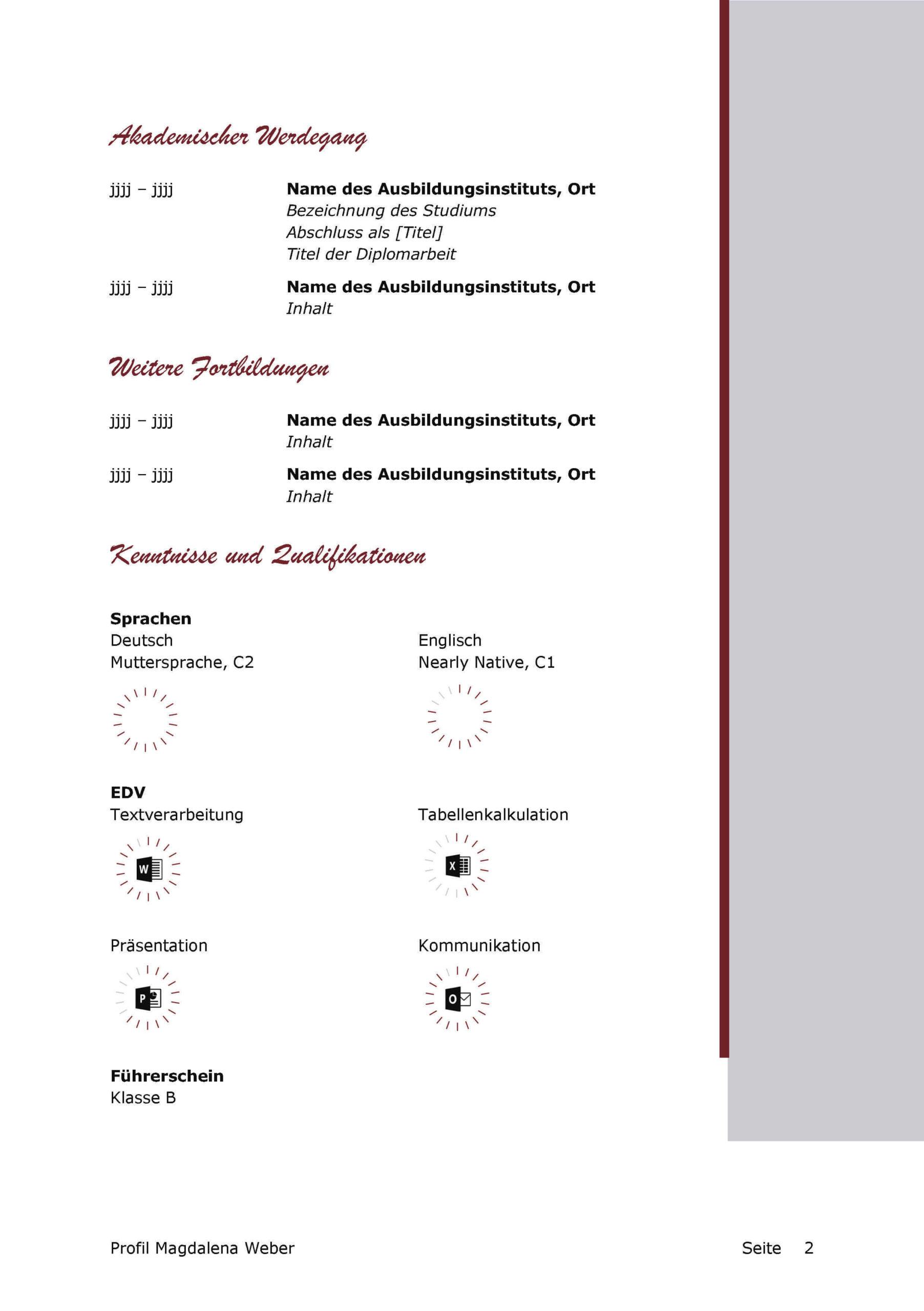 Lebenslauf Bewerbungsvorlage Magdalena Seite 2