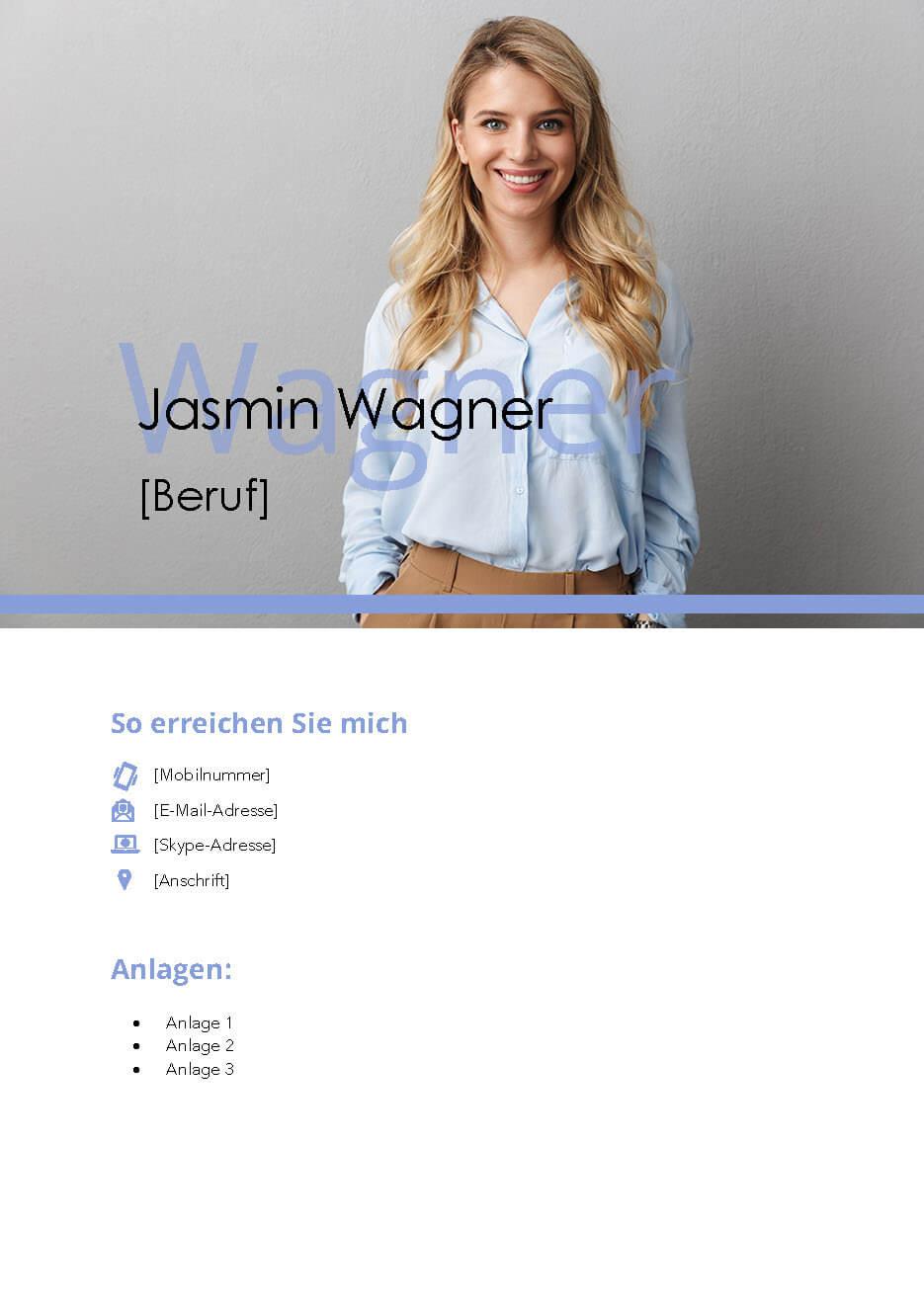 Bewerbungsvorlage Deckblatt Jasmin