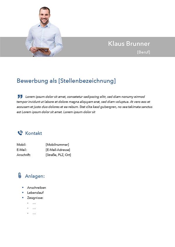 Deckblatt Bewerbungsvorlage Klaus