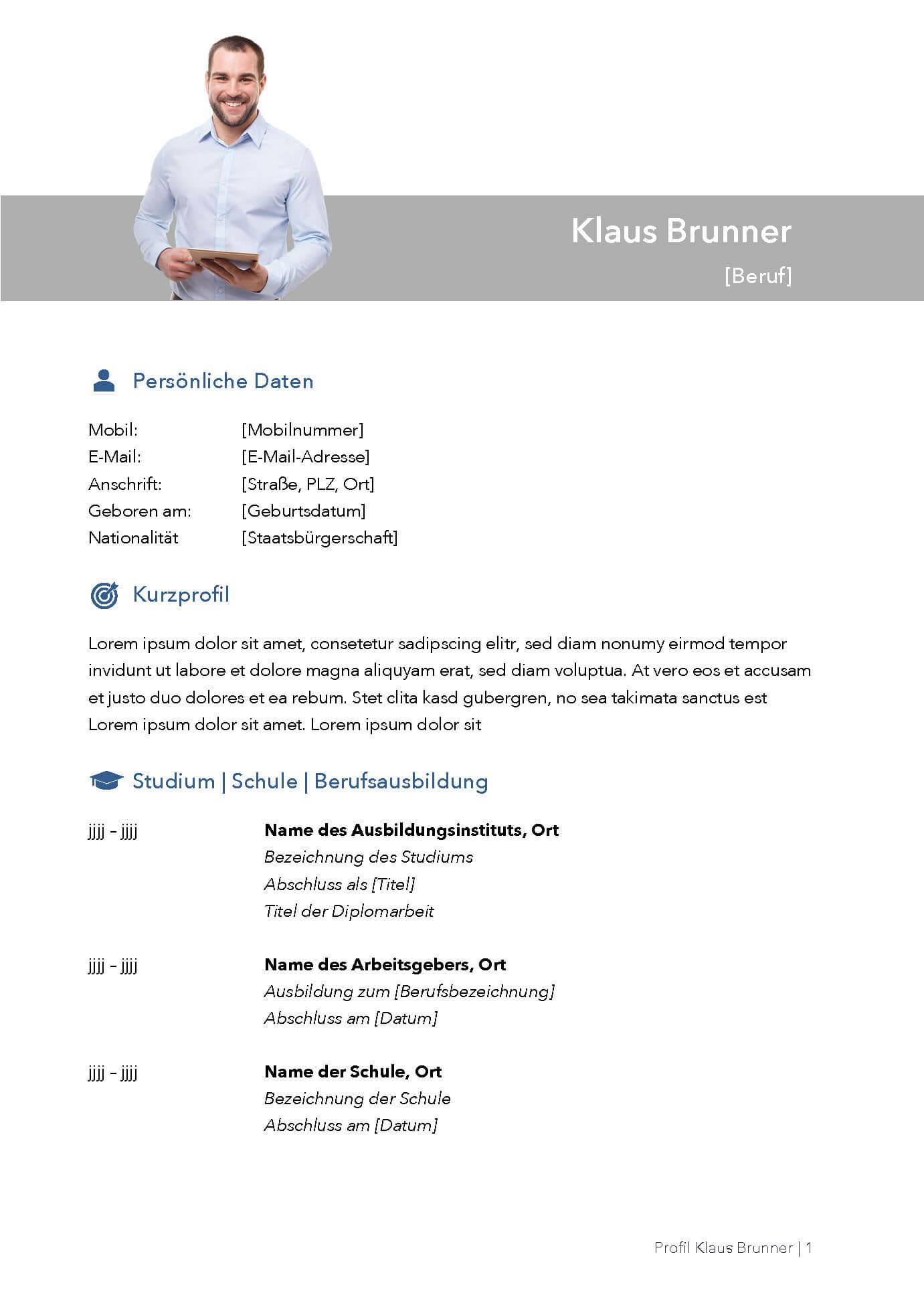 Lebenslauf Bewerbungsvorlage Klaus Seite 1