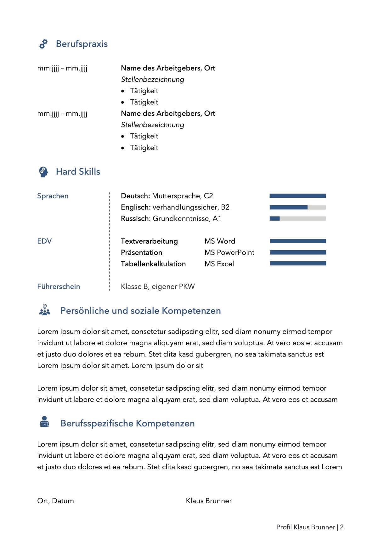Lebenslauf Bewerbungsvorlage Klaus Seite 2