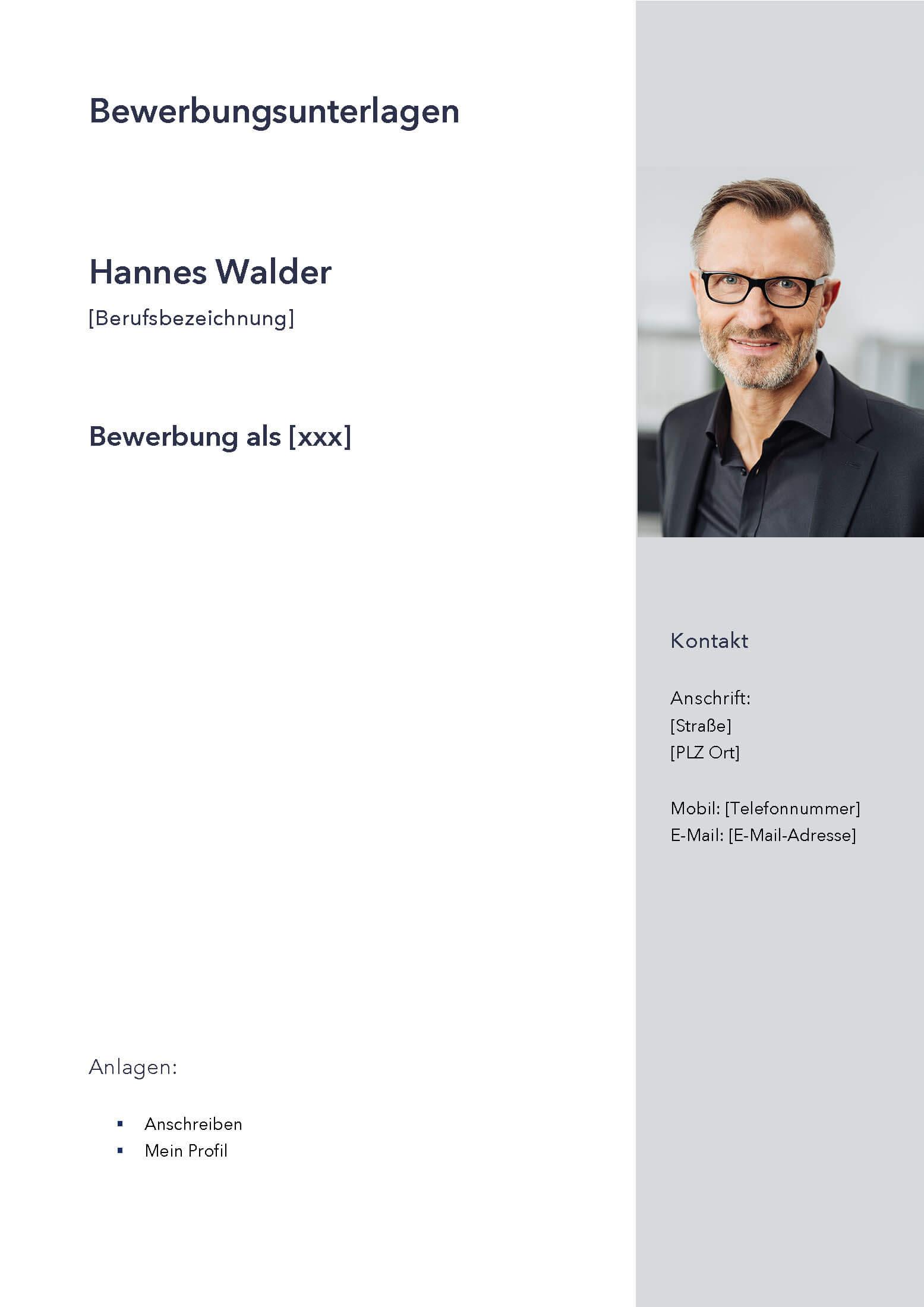 Deckblatt Bewerbungsvorlage Hannes